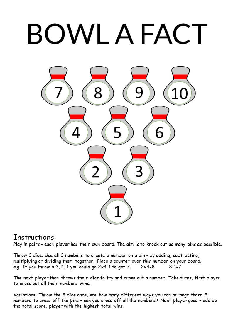 Bowl a Fact - Basic Facts Maths Game | Math Activities