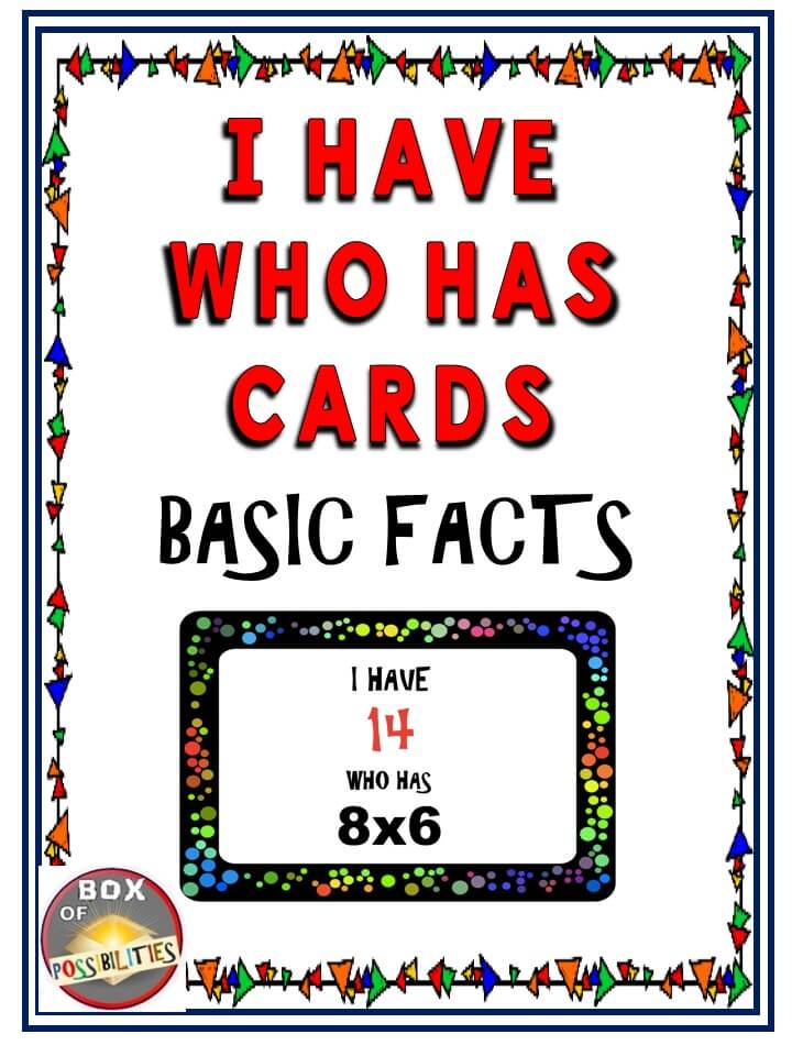 I Have Who Has Place: Basic Facts - Multiplication