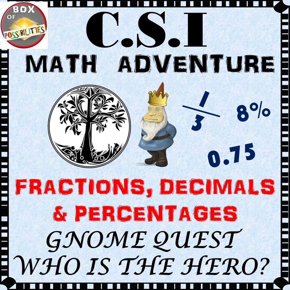 fractions, decimals, and percentages activity: csi math - gnome